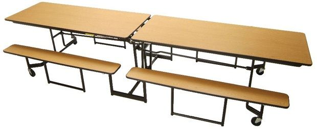 """Mitchell Full Bench Seat with Black Powder Coat Legs: 12 Seats, 27"""" Height"""
