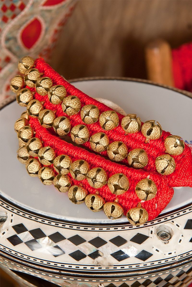 Mid-East Pad Of 2-Row Round Ankle Bells - Pair - Red