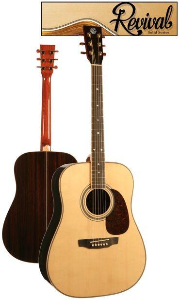 Revival Glossy Solid Spruce, Black Walnut Dreadnought Guitar