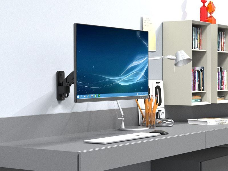 """Workstream By Monoprice Adjustable Gas Spring 1-segment Wall Mount For Monitors Up To 27"""""""