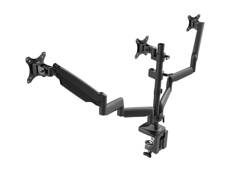 """Workstream By Monoprice Triple Monitor Gas Spring Mount For Up To 32"""" Screens, Locking Center Mount"""