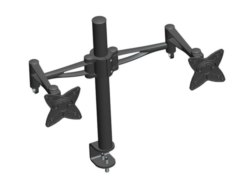Mono-way Adjustable Tilting Dual Desk Mount Bracket For 10~23in Monitors Up To 33 Lbs, Black