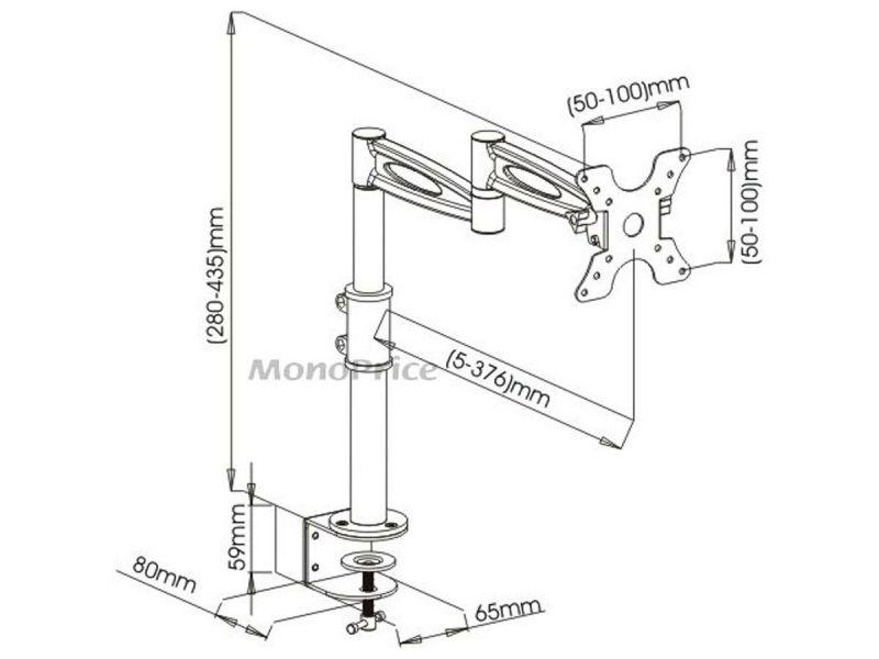 Mono-Way Adjustable Tilting Desk Mount Bracket For 13~30In Monitors Up To 33 Lbs., Black