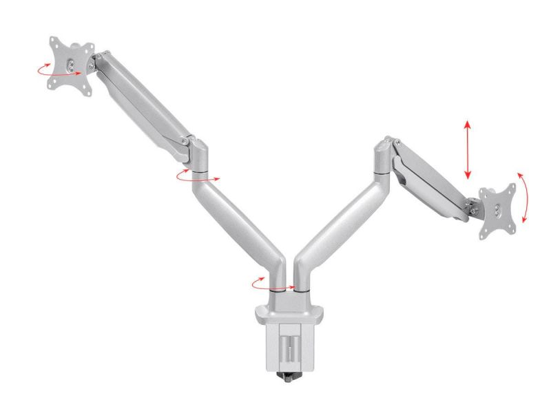 Workstream By Monoprice Dual Monitor Adjustable Gas Spring Desk Mount For 15~34in Monitors, Silver