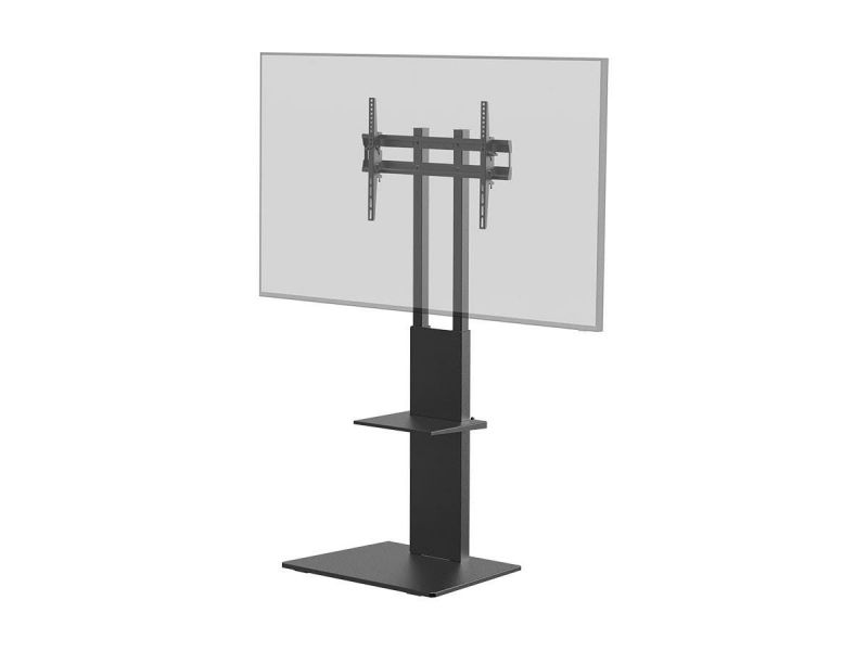 Monoprice Commercial Series Tv Mount & Stand With Tv Component Shelf For Led Displays 37in To 70in, Max Weight 88lbs., Vesa Patterns Up To 600x400, Black