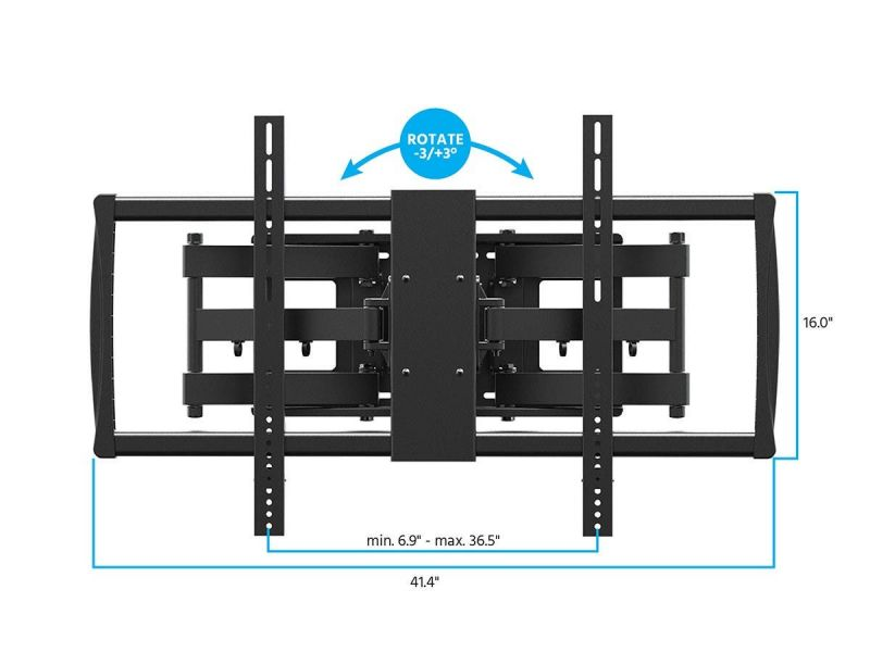 Monoprice Ez Series Full-Motion Articulating Tv Wall Mount Bracket For Wide Tvs 60In To 100In, Max Weight 176 Lbs, Extends From 2.8In To 24.6In, Vesa Up To 900X600, Concrete And Brick, Ul Certified