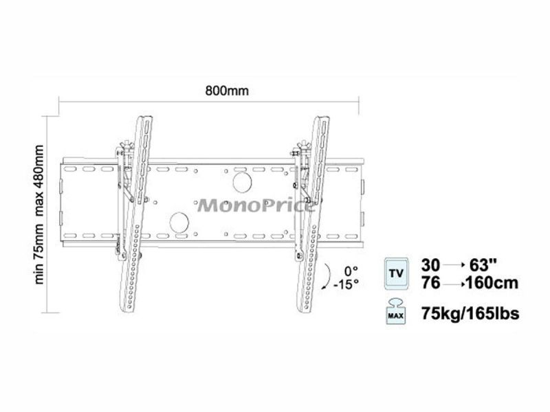 Monoprice Commercial Series Tilt Tv Wall Mount Bracket For Led Tvs 37in To 70in, Max Weight 165 Lbs., Vesa Patterns Up To 750x450, Ul Certified, No Logo