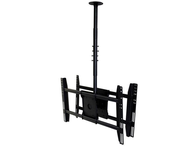 Monoprice Commercial Series Dual Sided Adjustable Ceiling Tv Mount Bracket - For Displays 32in To 52in, Max Weight 125 Lbs, Extension Range Of 39.4in To 59.1in, Vesa Patterns Up To 600x400, Rotating