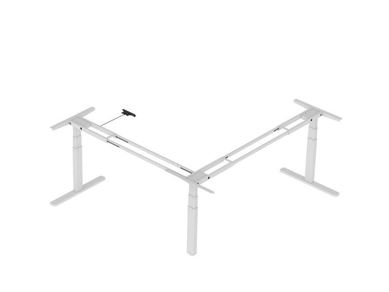 Workstream By Monoprice Triple Motor Height Adjustable Sit-stand Corner Desk Frame, 3-leg Corner L-shaped Table Base, White