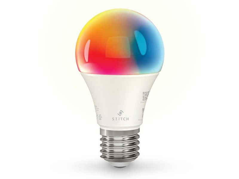 Stitch Smart Wi-fi Rgb Light Bulb, 9w Led Rgb Color And Warm, Cool White, A19 E26, Compatible With Alexa And Google Home For Touchless Control, No Hub Required