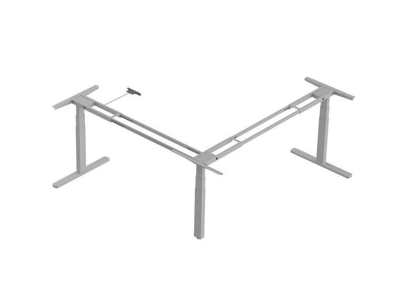 Workstream By Monoprice Triple Motor Height Adjustable Sit-stand Corner Desk Frame, 3-leg Corner L-shaped Table Base, Gray
