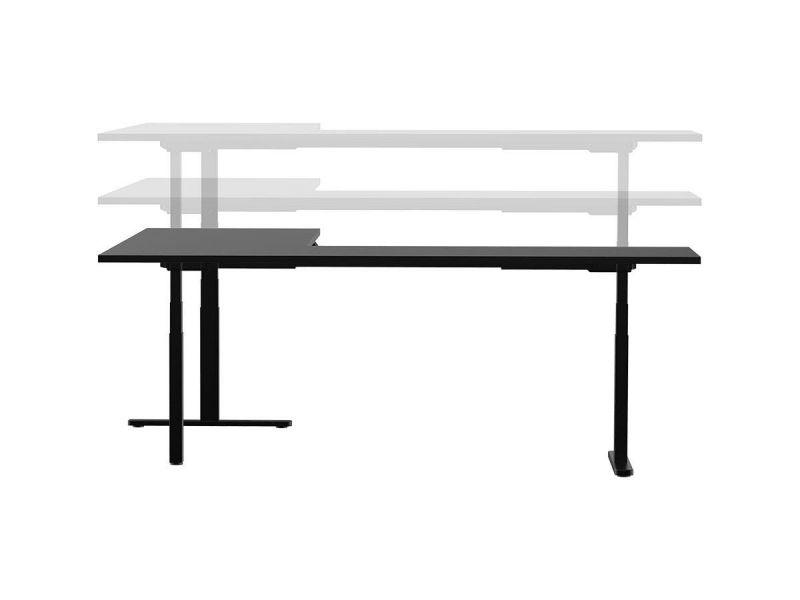 Workstream By Monoprice Triple Motor Height Adjustable Sit-stand Corner Desk Frame, 3-leg Corner L-shaped Table Base, Black