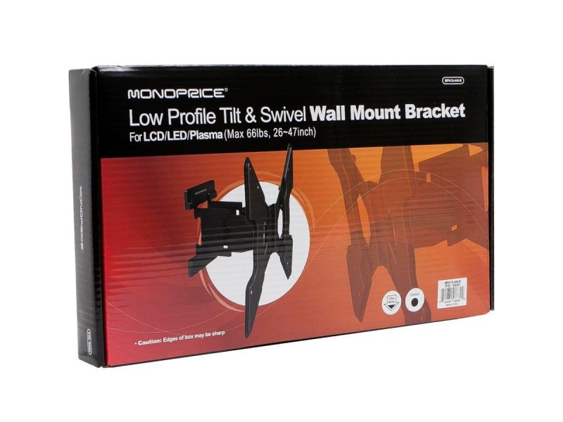 Monoprice Slimselect Series Full-Motion Articulating Tv Wall Mount Bracket For Tvs 32In To 55In, Max Weight 66 Lbs, Extension Range Of 1.5In ~ 10.7In, Vesa Up To 400X400, Works With Concrete And Brick