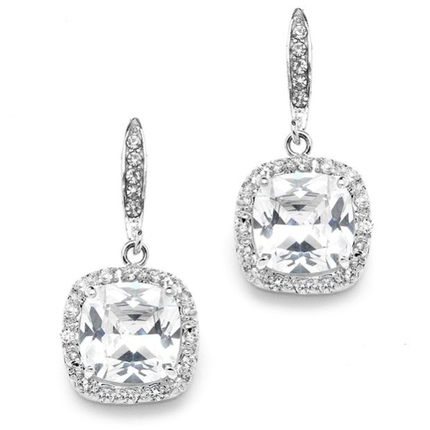 Magnificent Cushion Cut Cubic Zirconia Wedding Or Pageant Earrings In Platinum Silver