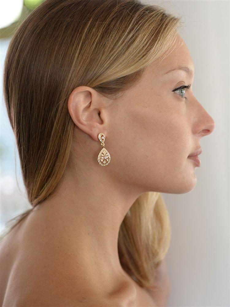 Vintage Etched Cz Wedding Or Bridesmaids Drop Earrings