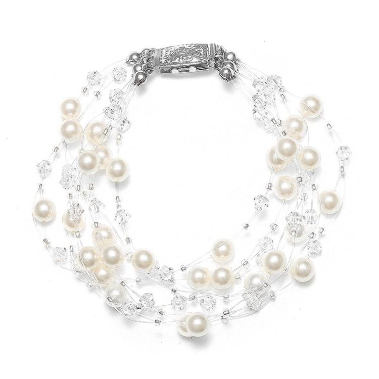 Lavish 6-Row Pearl & Crystal Bridal Illusion Bracelet