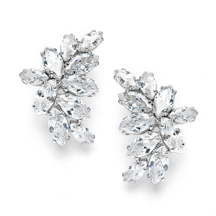 Shimmering Cubic Zirconia Marquis Cluster Bridal Earrings For Weddings Or Special Occasion