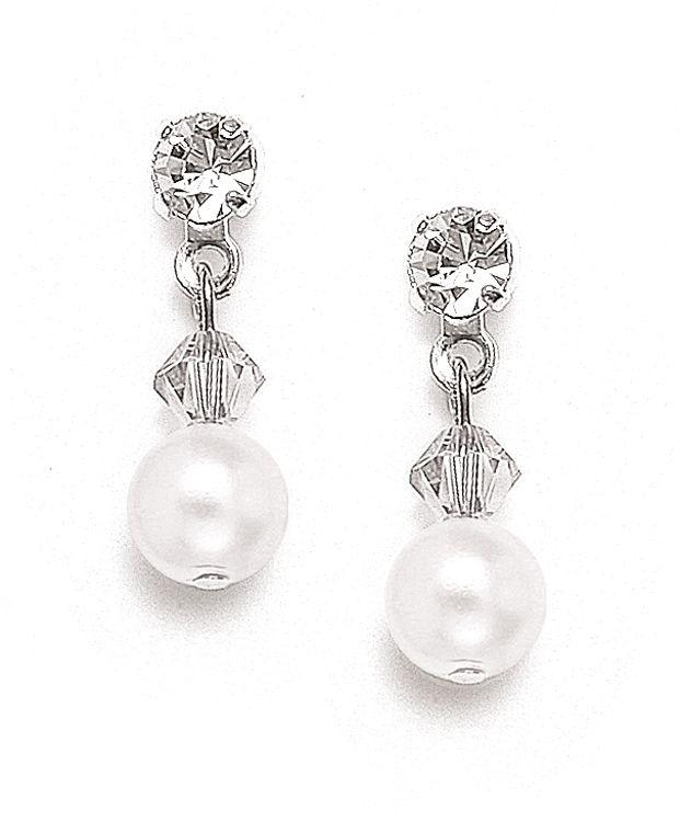 Classic Pearl & Crystal Drop Bridal Or Bridesmaids Earrings