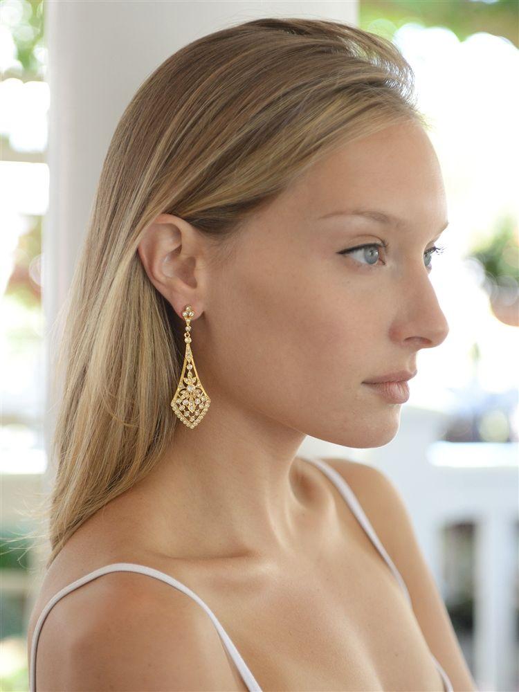Dramatic Gold Vintage Cz Bridal Earrings