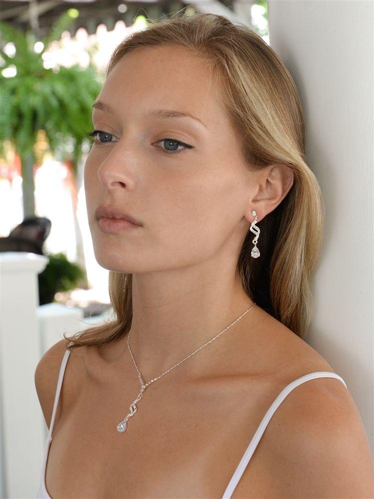 Dainty Necklace & Earrings Set With Cz Teardrops
