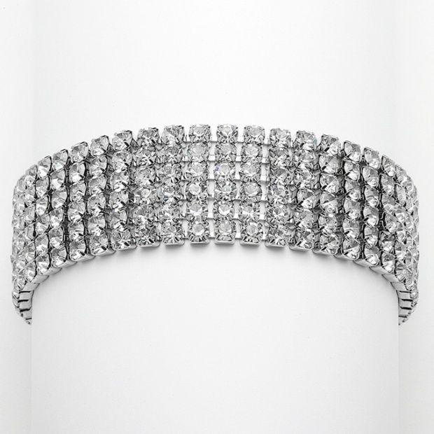 Petite Size 6-row Rhinestone Prom Or Homecoming Bracelet