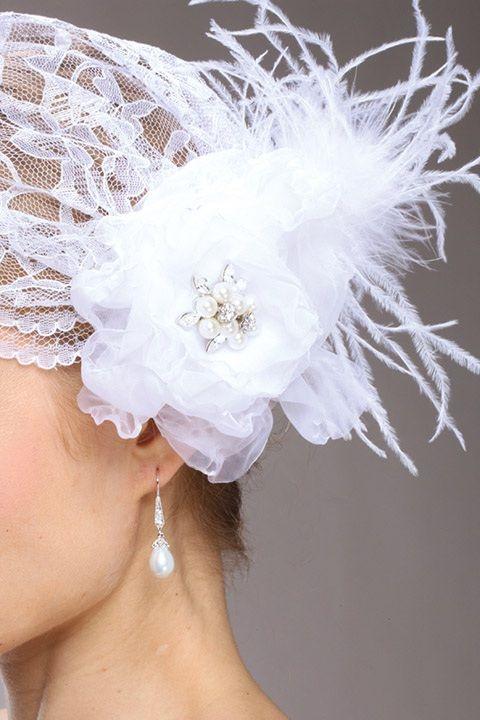 Juliet Bridal Cap With White Lace, Organza Hair Clip