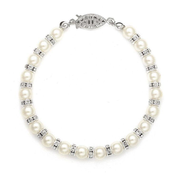 Alternating Pearl And Rondelle Wedding Bracelet - White