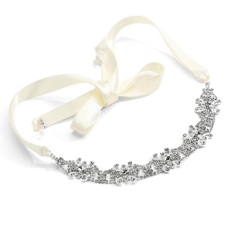 Swarovski Crystal Bridal Headband With Ribbon - Ivory