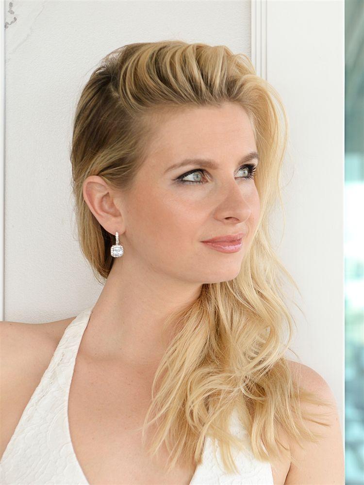 Radiant Cut Cubic Zirconia Drop Bridal Or Bridesmaids Earrings