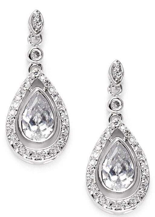 Cubic Zirconia Bridal Earrings With Pear Teardrops