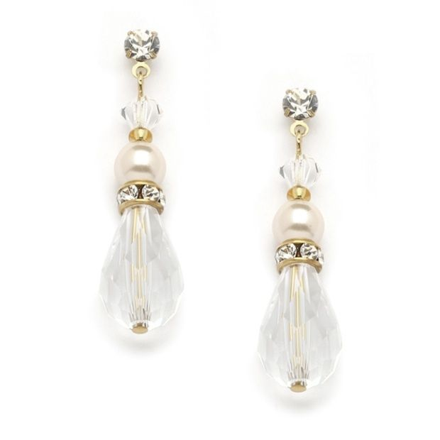Crystal Teardrop Wedding, Prom Or Bridesmaids Earrings With Ivory & Gold