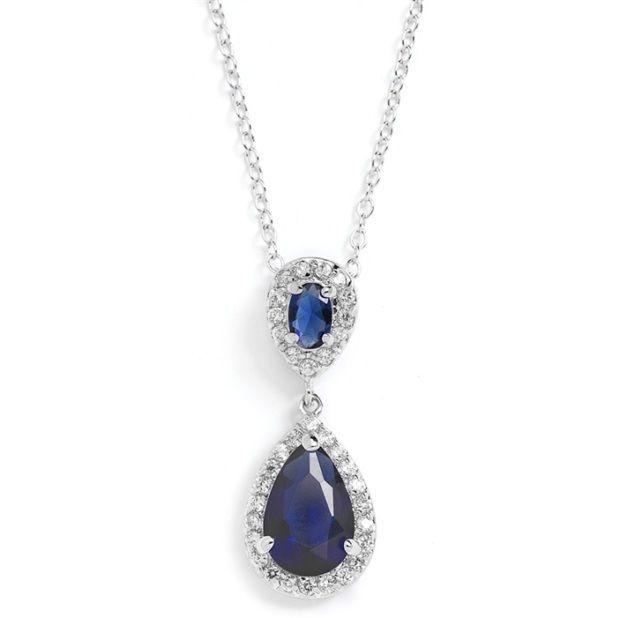 Top-Selling Sapphire Cubic Zirconia Teardrop Wedding Pendant