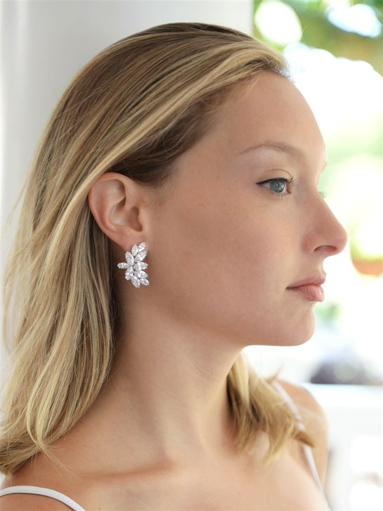 Clip-on Cubic Zirconia Marquis Cluster Earrings
