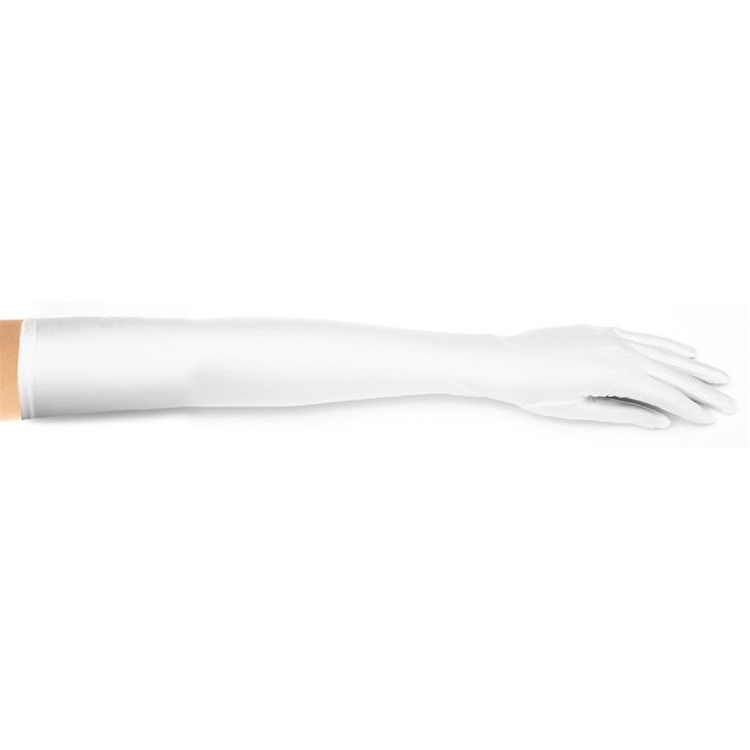 Above Elbow Bridal Or Prom Gloves In Matte Satin - White