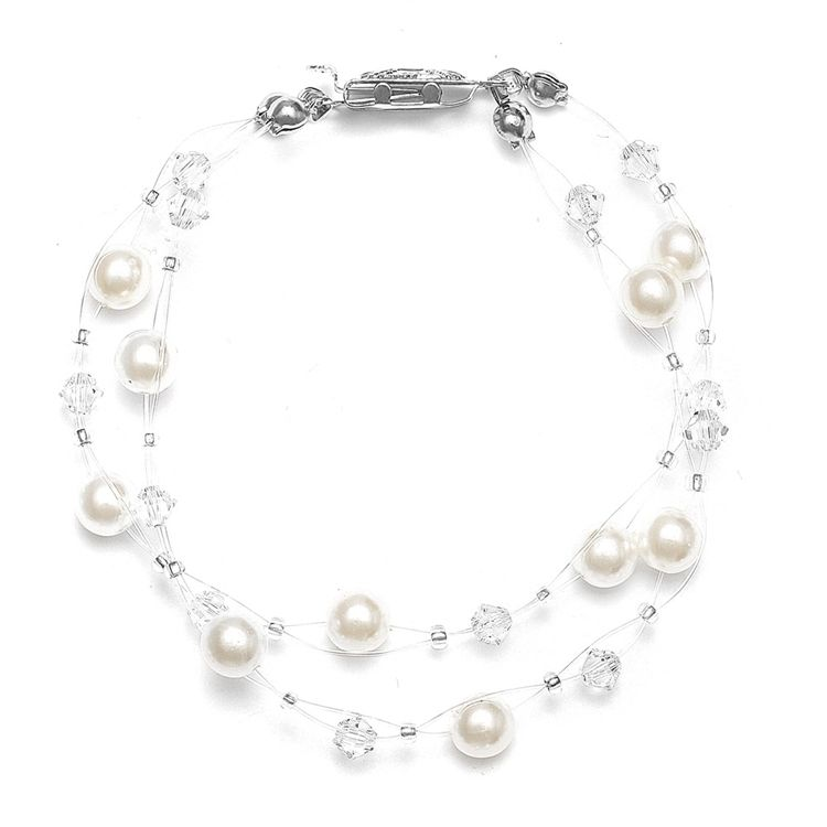 2-Row Pearl & Crystal Bridal Illusion Bracelet - Ivory/Ab