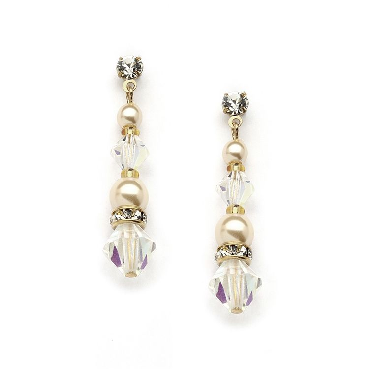 Pearl & Crystal Gold Dangle Earrings For Weddings, Bridesmaids Or Prom