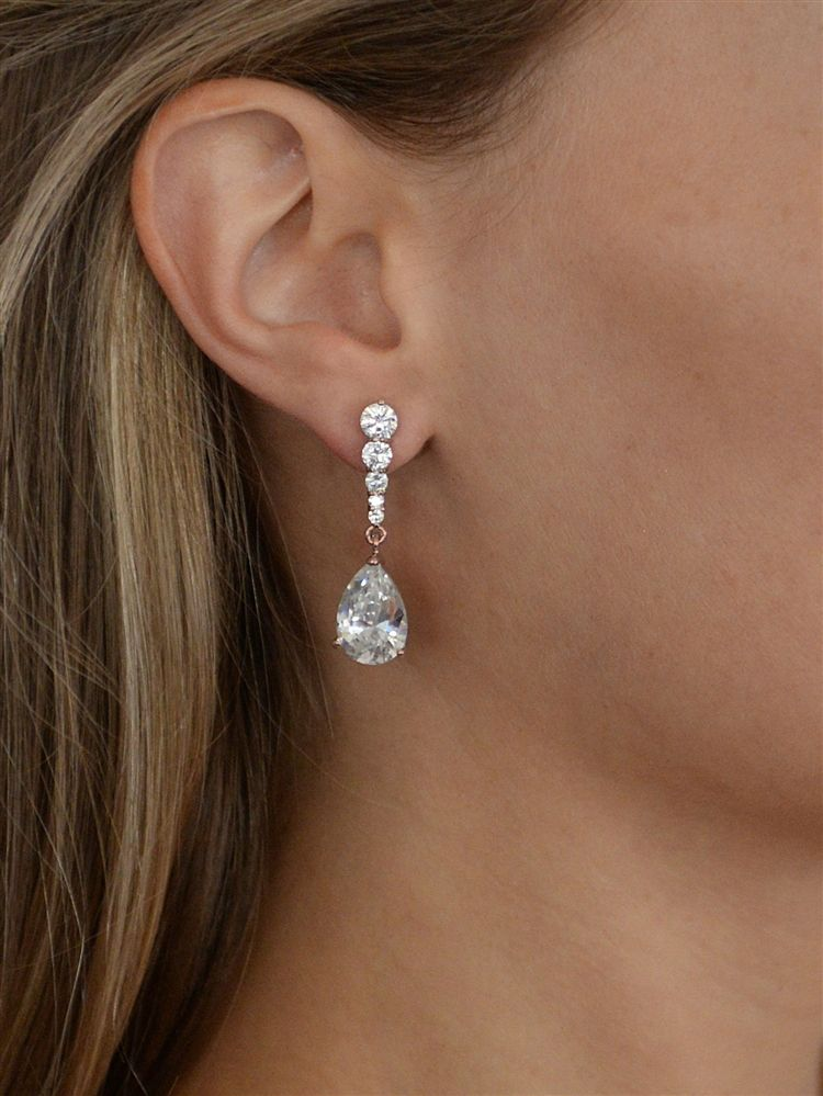 Cubic Zirconia Pears Dangle Earrings With Graduated Top