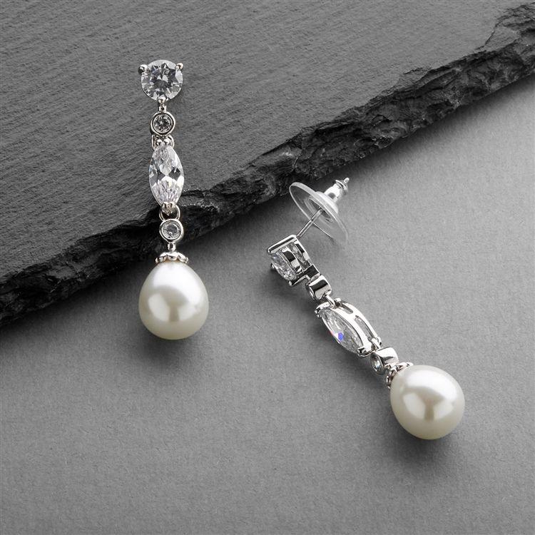 Linear Cz And Pearl Wedding Earrings