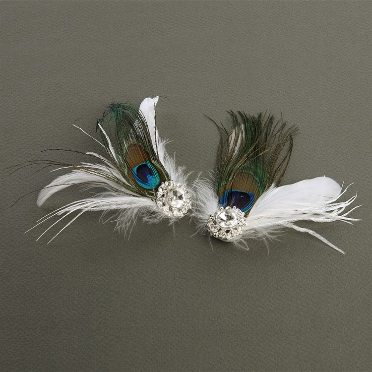 Super Value - Peacock Feather - White Marabou Shoe Clips With Crystal