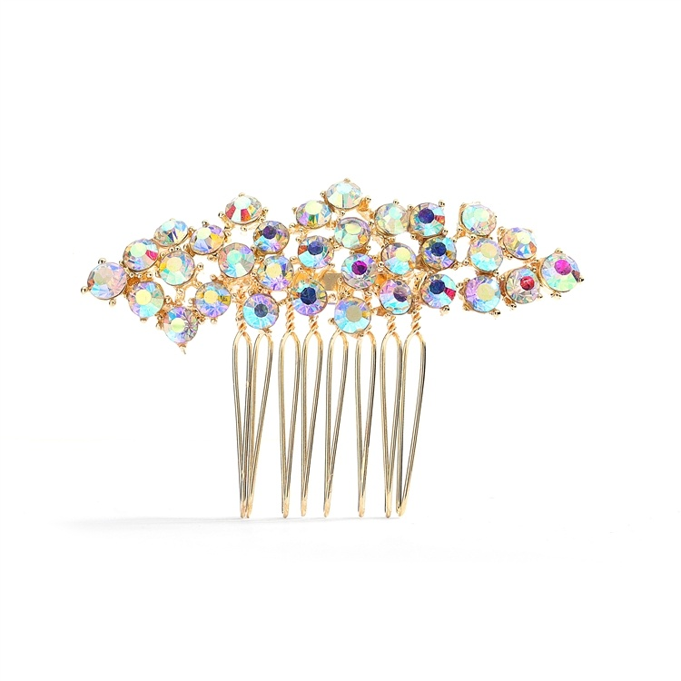 Best Selling Crystal Clusters Gold & Ab Wedding Or Prom Comb