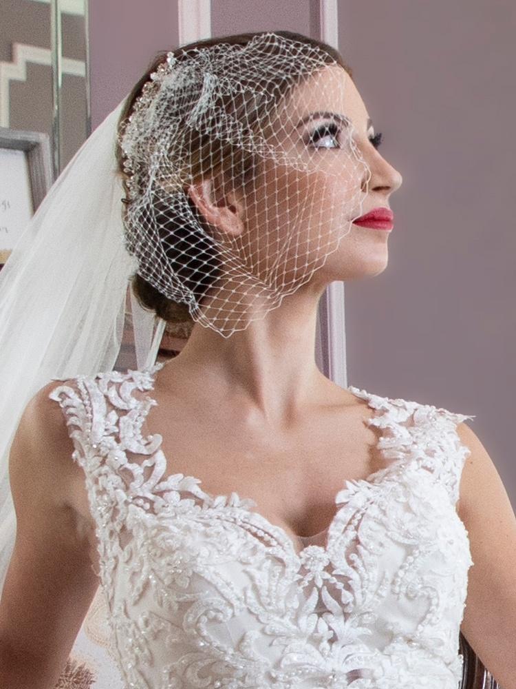 French Net Bridal Birdcage Blusher Visor Veil - White
