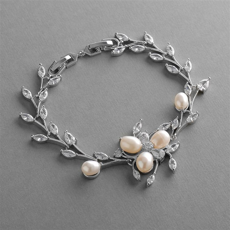 Freshwater Pearl Wedding Bracelet With Cz Leaves