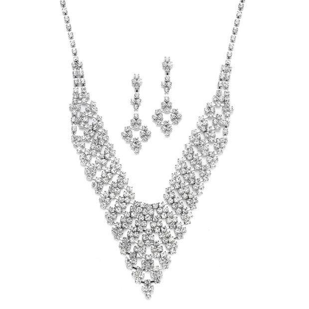 Rhinestone Vintage Bib Necklace & Earrings Set