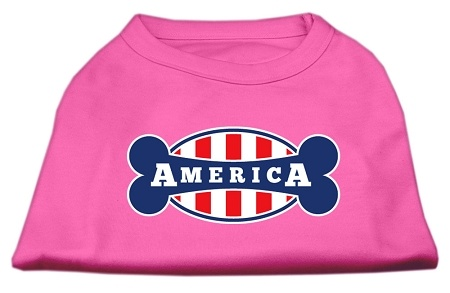 Bonely In America Screen Print Shirt Bright Pink Med
