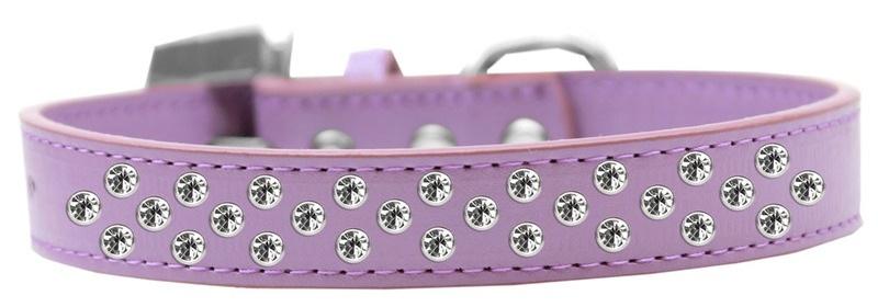 Sprinkles Dog Collar Clear Crystals Size 14 Lavender