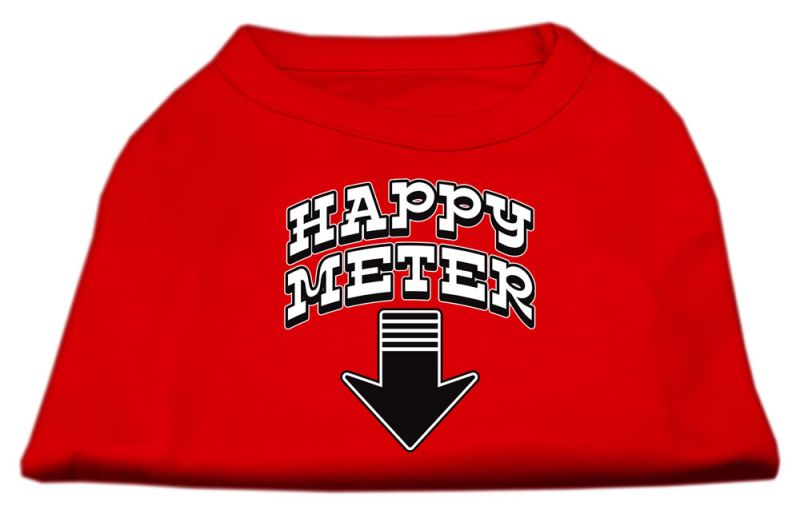 Happy Meter Screen Printed Dog Shirt Red Med