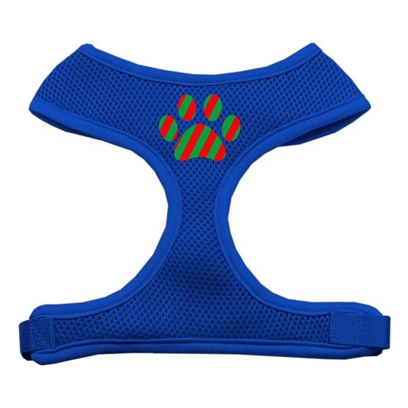 Christmas Paw Screen Print Soft Mesh Pet Harness Blue Extra Large