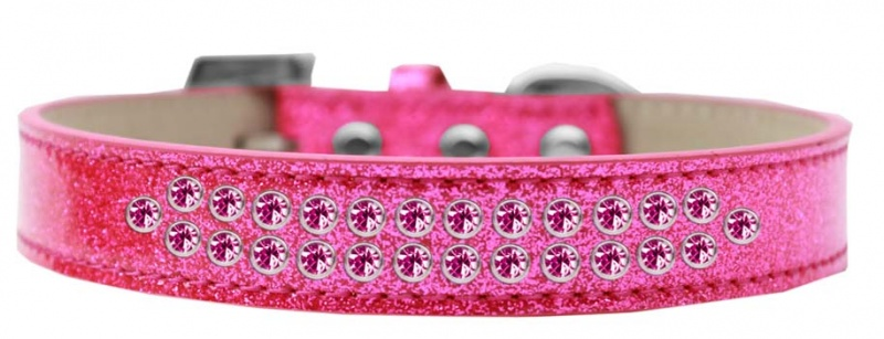 Two Row Bright Pink Crystal Size 20 Pink Ice Cream Dog Collar