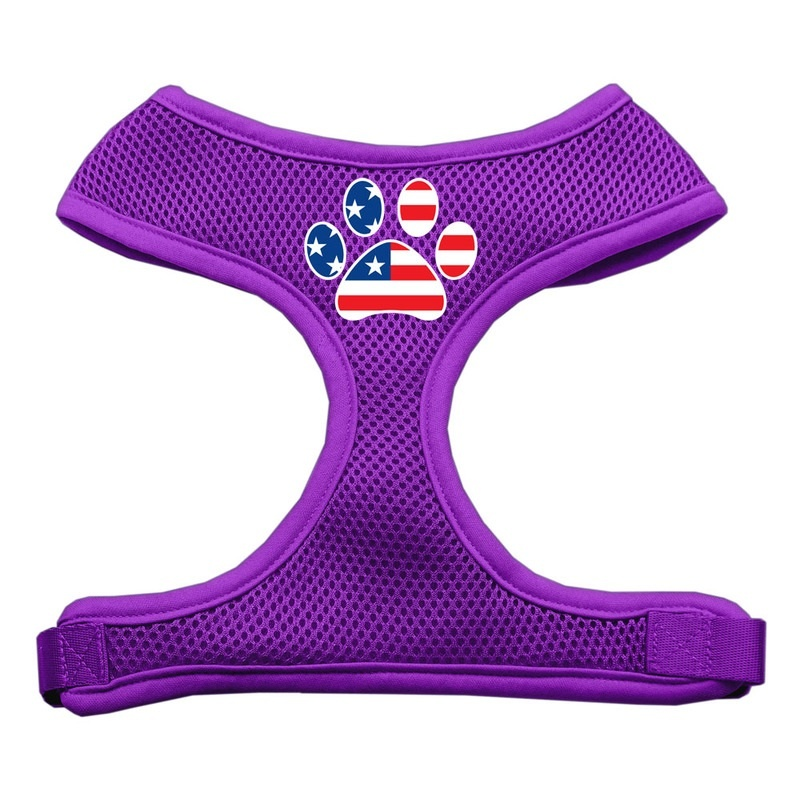 Paw Flag Usa Screen Print Soft Mesh Pet Harness Purple Small
