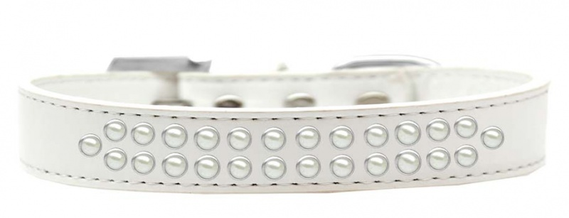 Two Row Pearl Size 12 White Dog Collar